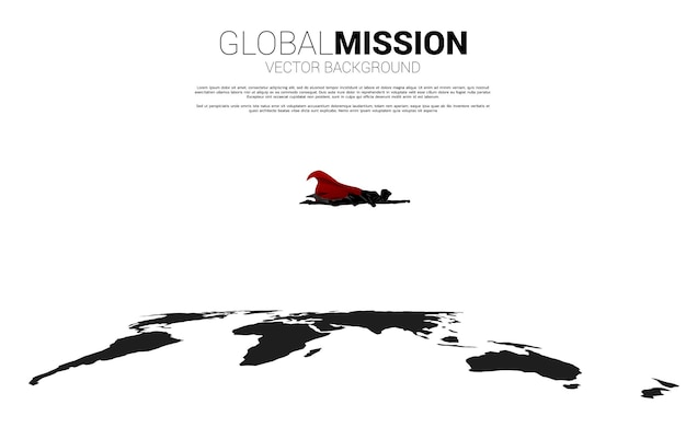 세계 지도에서 날아가는 사업가의 실루엣입니다. 세계 목표 임무의 비즈니스 개념입니다.