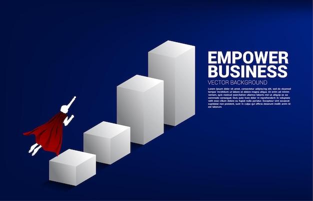 グラフの上の列に飛んでいるビジネスマンのシルエット。ビジネスのブーストと成長の概念。