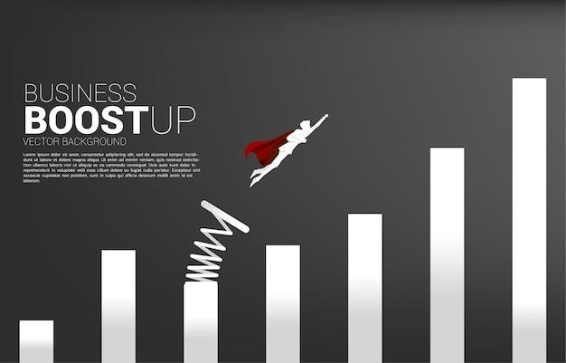 발판과 그래프의 더 높은 열에 도착하는 사업가의 실루엣. 사업 부스트와 성장의 기치.
