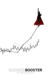 더 높은 선 차트로 날아가는 사업가의 실루엣입니다. 비즈니스의 부스트와 성장의 개념입니다.