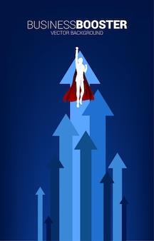 Силуэт бизнесмена, летящего выше со стрелкой. концепция ускорения и роста бизнеса.