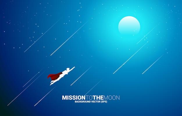 달로 날아가는 사업가의 실루엣. 시작 및 빠른 성장 회사를 위한 비즈니스 개념.