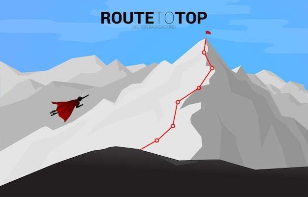 산 꼭대기로 날아가는 사업가의 실루엣. 시작 및 빠른 성장 회사를 위한 비즈니스 개념.