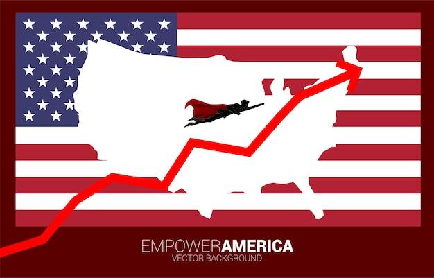 Силуэт бизнесмена, летящего с флагом и картой сша фоном. бизнес-концепция для запуска в соединенных штатах.