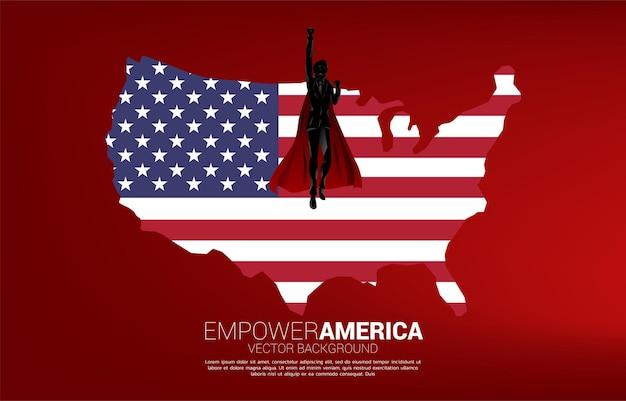 Силуэт бизнесмена, летящего с флагом сша фона. бизнес-концепция для запуска в соединенных штатах.