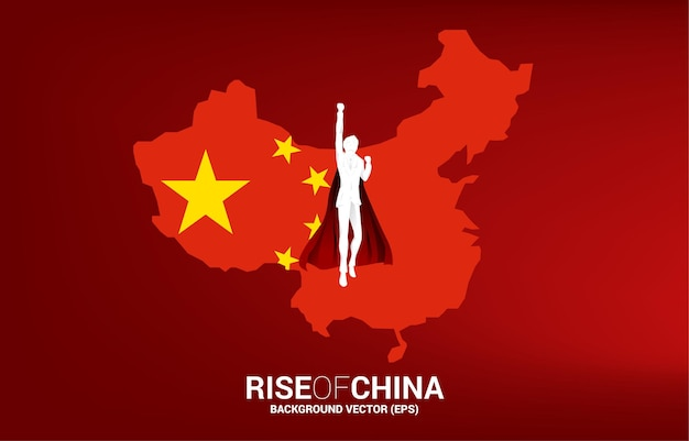 중국 국기와 지도를 들고 날아가는 사업가의 실루엣. 중국에서 시작 및 빠른 성장 회사를 위한 비즈니스 개념.