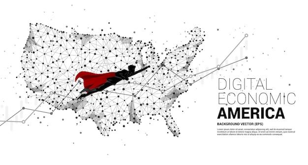 폴리곤 도트 연결 라인에서 미국 지도로 비행하는 사업가의 실루엣. 미국 디지털 경제의 빠른 성장을 위한 개념.