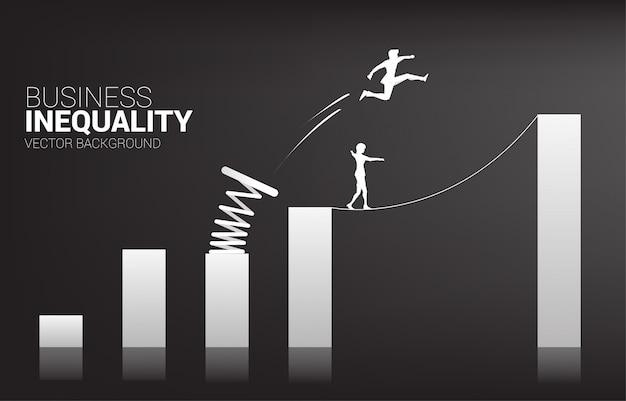 ビジネスマンのシルエットは、ロープウォークの他の上に踏み台でグラフの高い列にジャンプします。後押しとビジネスの成長の概念。ビジネスの不平等。