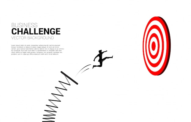 다트 판이 대상으로 점프하는 사업가의 실루엣입니다. 타겟팅 및 customer.route 성공의 비즈니스 개념입니다.