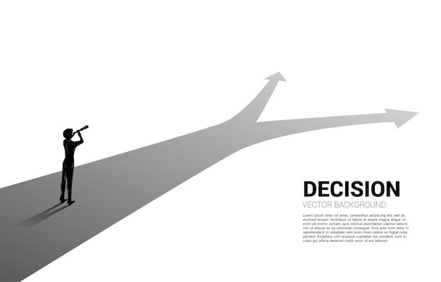 交差点で望遠鏡を通して見ているビジネスマンのシルエット。使命と正しい決定を見つけるためのビジネスコンセプト。