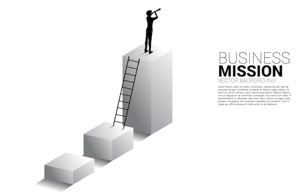비즈니스 추세 그래프에 서 있는 망원경을 통해 보고 있는 사업가의 실루엣. 미션 및 트렌드 찾기에 대한 비즈니스 개념입니다.