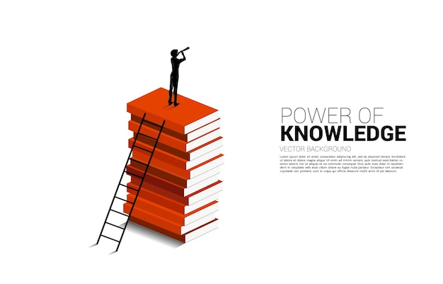 Силуэт бизнесмена, смотрящего через телескоп, стоящий на вершине книжного стека с лестницей. предпосылка концепции силы знания.