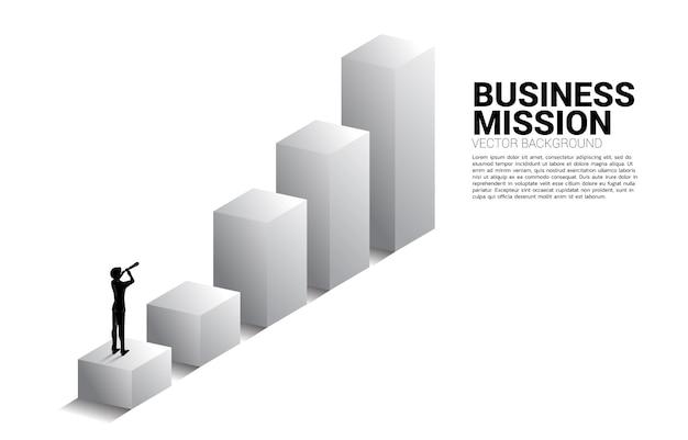 望遠鏡からビジネストレンドグラフを見ているビジネスマンのシルエット。使命とトレンドを見つけるためのビジネスコンセプト。