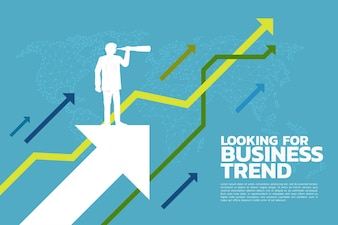 Silhouette of businessman looking through telescope to business trend graph.