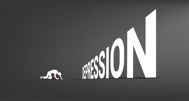 우울증 텍스트 앞 무릎에 사업가의 실루엣. 실패하고 사람들을 우울하게 하는 개념.
