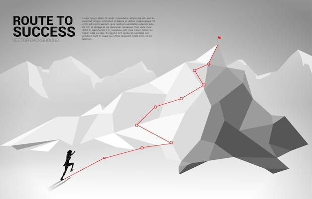 ビジネスマンのシルエットは山の頂上に実行されます。目標、使命、ビジョン、キャリアパス、ポリゴンドット接続線スタイルの概念