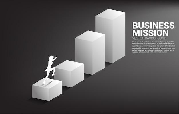 막대 그래프에서 실행되는 사업가의 실루엣입니다. 경력 및 비즈니스 수준을 높일 준비가 된 사람들의 개념.