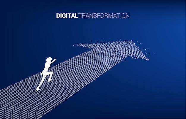 픽셀에서 화살표를 실행 하는 사업가의 실루엣. 비즈니스의 디지털 변환의 개념입니다.
