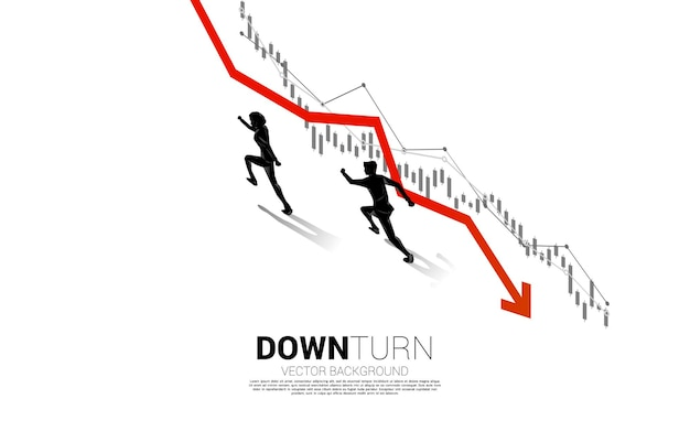 경기 침체 그래프와 반대 방향으로 달리는 사업가의 실루엣. 실패 및 우발적 비즈니스에 대한 개념 프리미엄 벡터