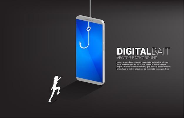 휴대 전화에서 낚시 후크를 실행하는 사업가의 실루엣. 디지털 사기 및 비즈니스 사기의 배너.