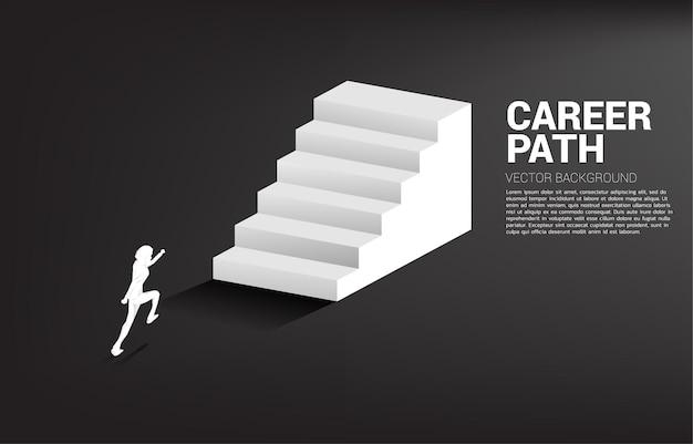 계단에서 실행하는 사업가의 실루엣입니다.