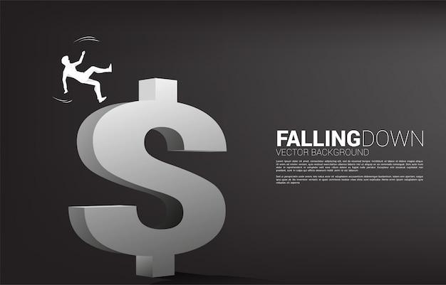 사업가 슬립 및 달러 돈 아이콘에서 아래로 떨어지는의 실루엣. 실패와 실수로 인한 비즈니스에 대한 개념
