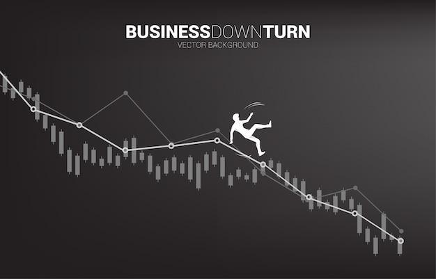 사업가 슬립 및 침체 그래프에서 아래로 떨어지는의 실루엣. 실패와 실수로 인한 비즈니스에 대한 개념