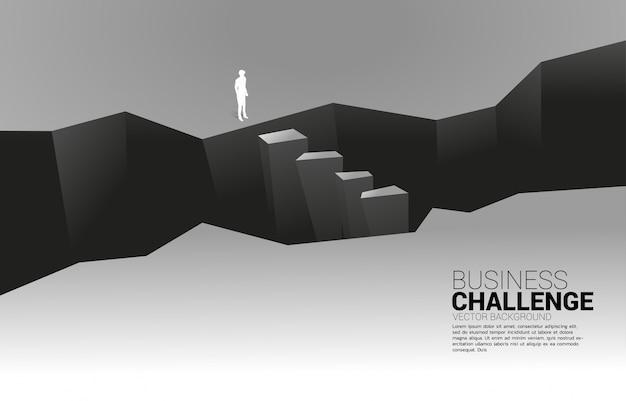 谷に立っているビジネスマンのシルエット。ビジネスの挑戦と勇気の男の概念