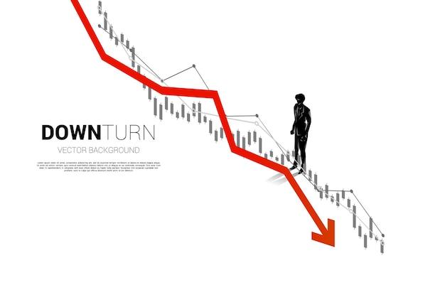 사업가 서 침체 그래프의 실루엣입니다. 실패 및 우발적 비즈니스 배너