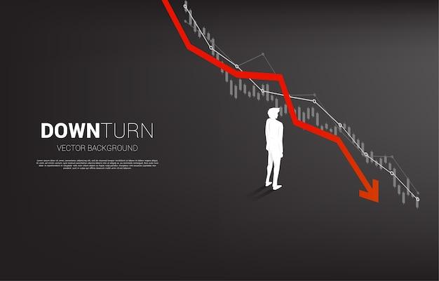 사업가 서 침체 그래프의 실루엣입니다. 실패 및 우발적 비즈니스에 대한 개념