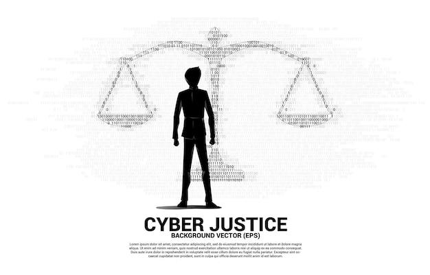 1 및 0 이진 코드 숫자 매트릭스 스타일에서 정의 규모와 함께 서 있는 사업가의 실루엣. 사이버 사회적 판단의 배경 개념