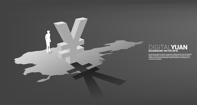 中国の地図上の影とお金元通貨アイコン3dで立っているビジネスマンのシルエット。デジタル人民元の金融と銀行の概念。
