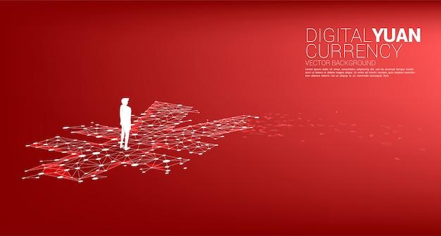お金元の点線で立っているビジネスマンのシルエットは、ポリゴンを接続します。デジタル元の金融と銀行のコンセプト。