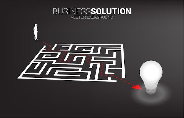 電球への迷路を出るルートパスを持つビジネスマンのシルエット。問題解決とアイデアを見つけるためのビジネスコンセプト。