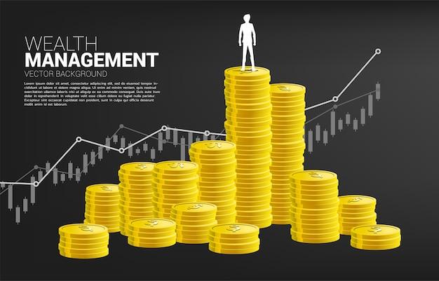 위에 서있는 사업가와 동전의 스택과 함께 성장 그래프의 실루엣. 성공 투자 및 비즈니스 성장의 개념