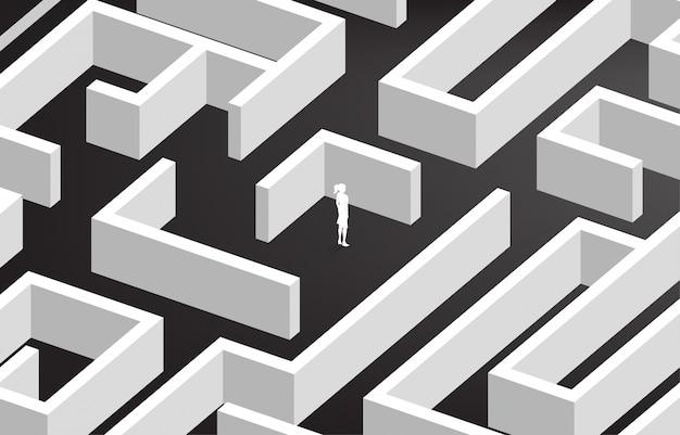 迷路の中心で実業家のシルエット。問題解決と解決策のビジネスコンセプト