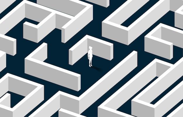 迷路の中心にある実業家のシルエット。問題解決と解決戦略のためのビジネスコンセプト