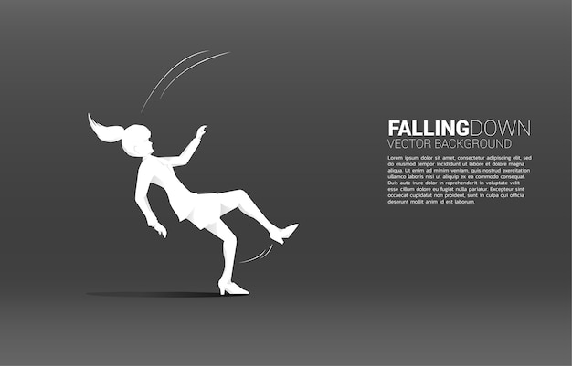바닥에 떨어지는 사업가의 실루엣입니다. 실패 및 우발적 비즈니스에 대한 개념