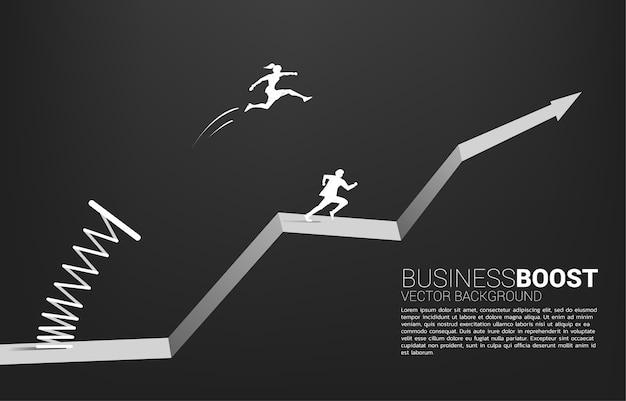 春のグラフで実業家のシルエットが頭を飛び越えます。ビジネスのブーストと成長の概念。