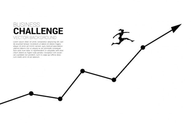 グラフの成長にジャンプ実業家のシルエット。キャリアとビジネスを開始する準備ができている人々の概念