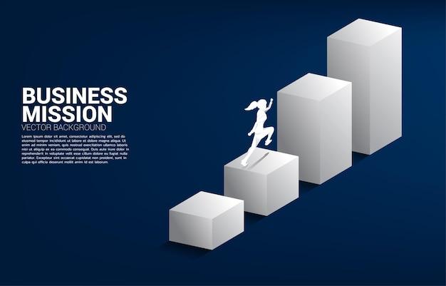 막대 차트를 실행하는 사업가의 실루엣입니다. 경력 및 비즈니스 수준을 높일 준비가 된 사람들의 개념.