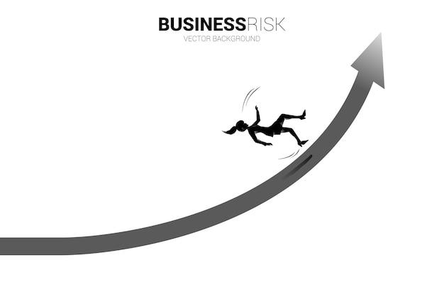 実業家のシルエットが滑って、成長する矢印から落ちます。失敗と偶発的なビジネスの概念