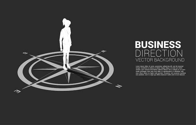 바닥에 나침반의 중심에 서 있는 사업가의 실루엣. 경력 경로 및 비즈니스 방향의 개념