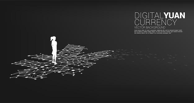 人民元の点線で立っている実業家のシルエットはポリゴンを接続します。デジタル人民元の金融と銀行の概念。