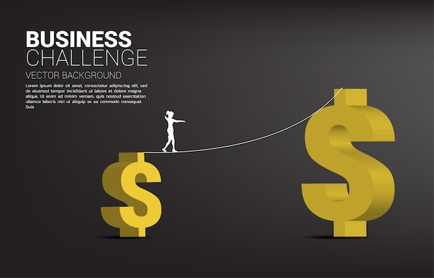 大きなお金のドル記号にロープの散歩道を歩く実業家のシルエット。ビジネスリスクと挑戦の概念。