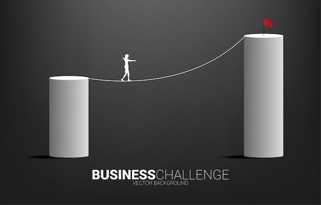 높은 막대 차트에 밧줄 도보 방법에 걷는 사업가의 실루엣. 사업 위험 및 경력 경로에 대 한 개념