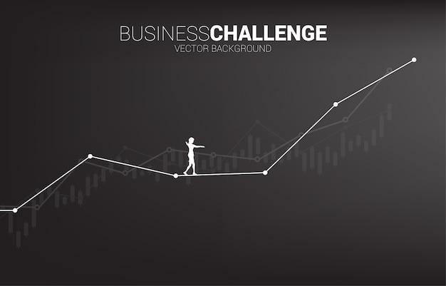 ロープの上を歩く実業家のシルエットは、成長線グラフまでの道を歩きます。ビジネスリスクの概念とキャリアパスの課題