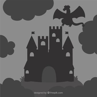 Силуэт замка и летающего дракона