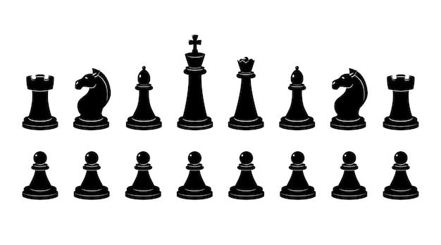 체스의 실루엣입니다. 흑백 삽화가 분리됩니다. 체스 맨과 체스 그림 클래식 프로필