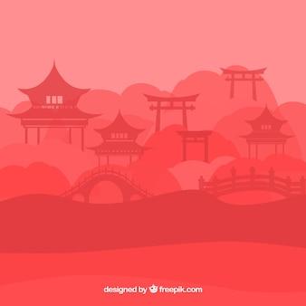 Силуэт китайского пейзажа с пагодой